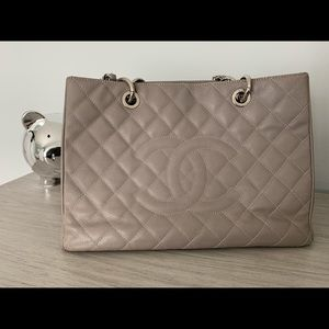 CHANEL gray medium Quilted Authentic Tote
